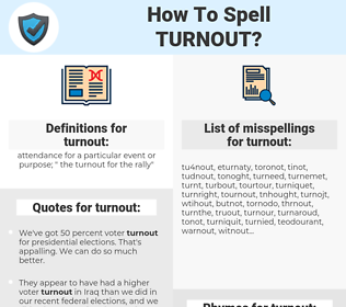 turnout, spellcheck turnout, how to spell turnout, how do you spell turnout, correct spelling for turnout