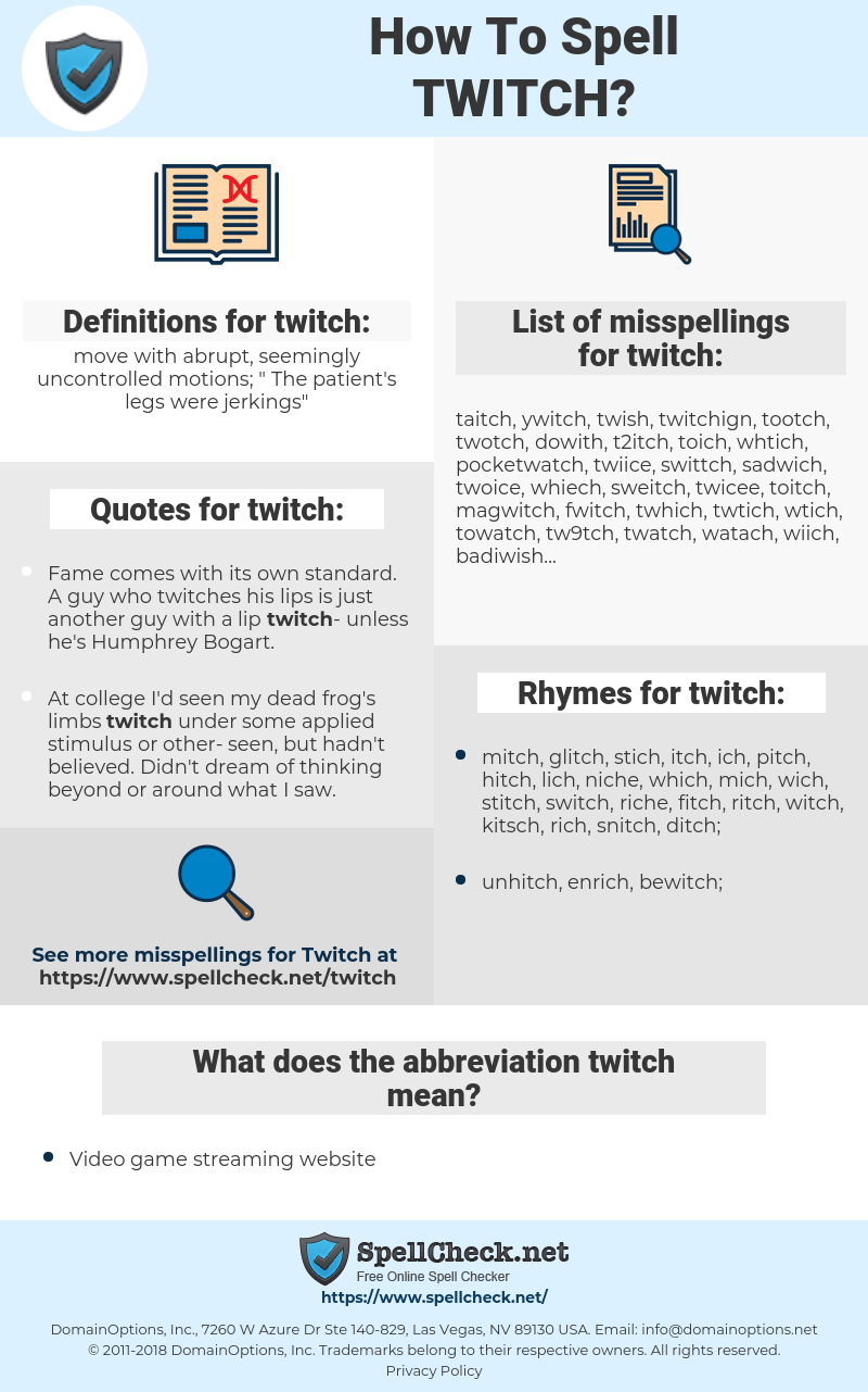 How To Spell Twitch (And How To Misspell It Too