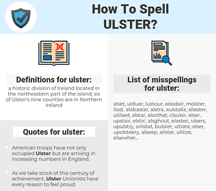 ulster, spellcheck ulster, how to spell ulster, how do you spell ulster, correct spelling for ulster