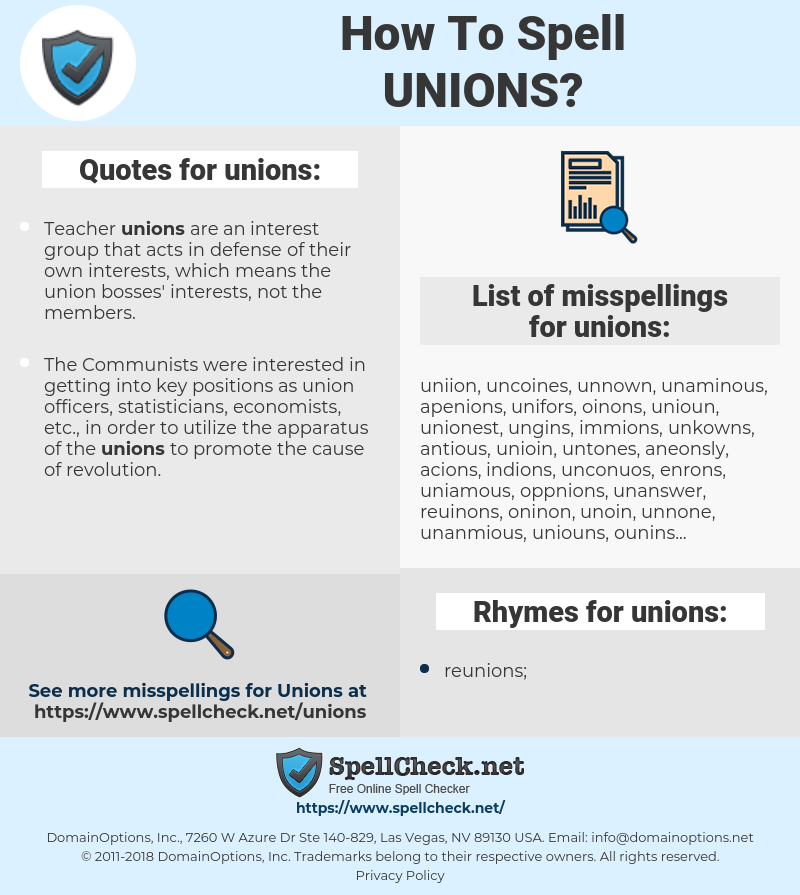 unions, spellcheck unions, how to spell unions, how do you spell unions, correct spelling for unions