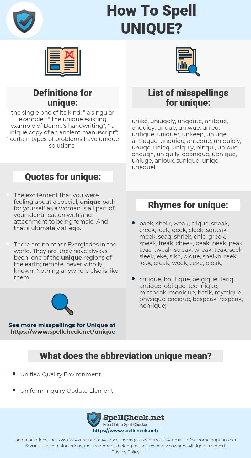 unique, spellcheck unique, how to spell unique, how do you spell unique, correct spelling for unique