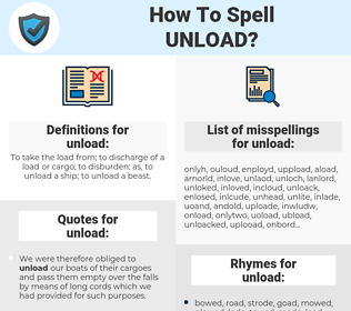 unload, spellcheck unload, how to spell unload, how do you spell unload, correct spelling for unload