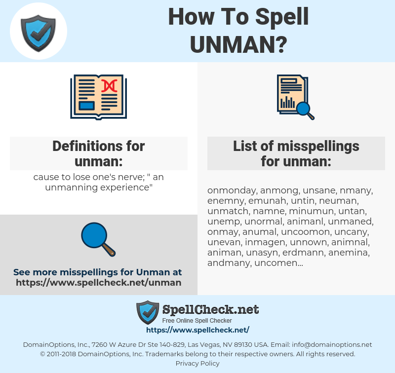 unman, spellcheck unman, how to spell unman, how do you spell unman, correct spelling for unman