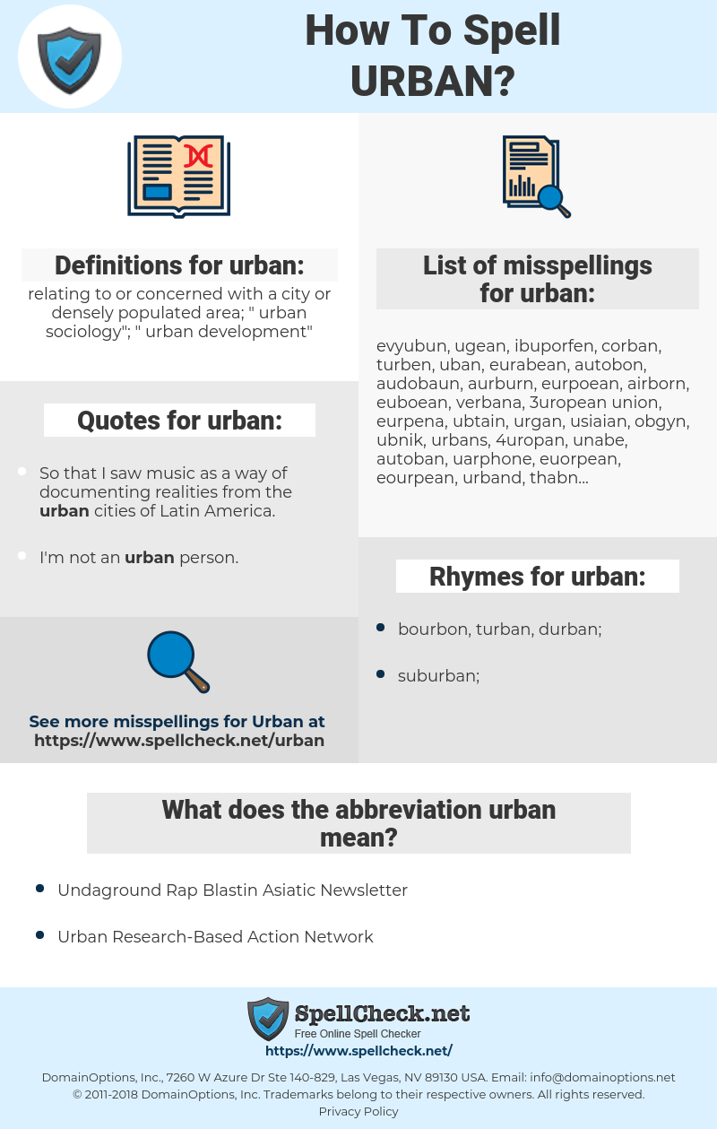 urban, spellcheck urban, how to spell urban, how do you spell urban, correct spelling for urban