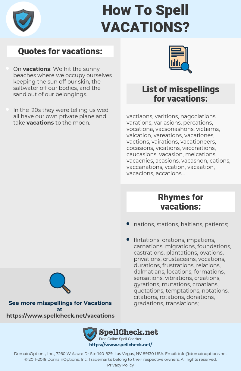 vacations, spellcheck vacations, how to spell vacations, how do you spell vacations, correct spelling for vacations