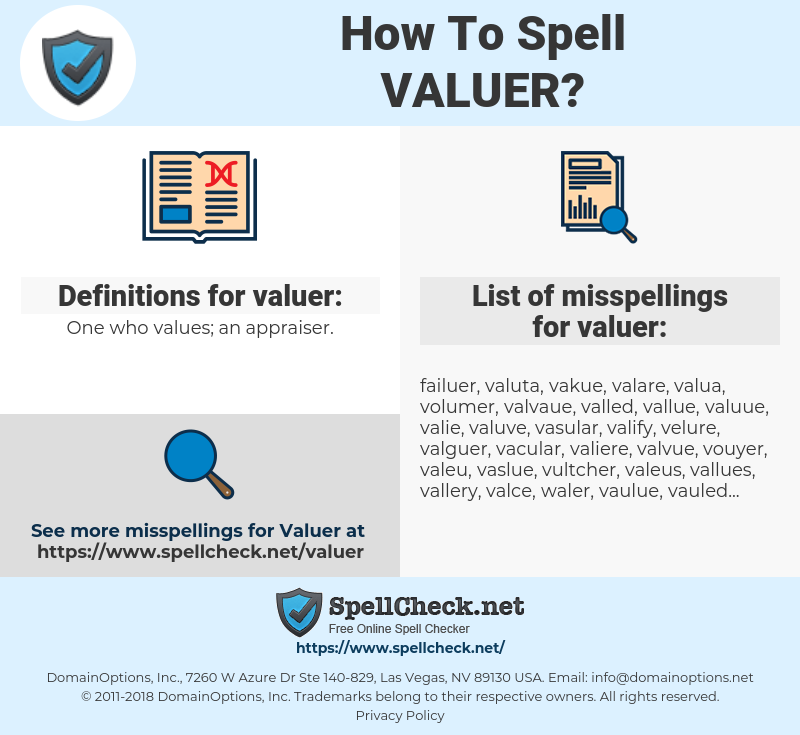 valuer, spellcheck valuer, how to spell valuer, how do you spell valuer, correct spelling for valuer