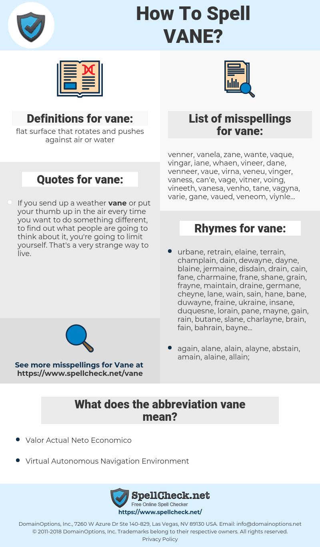 vane, spellcheck vane, how to spell vane, how do you spell vane, correct spelling for vane