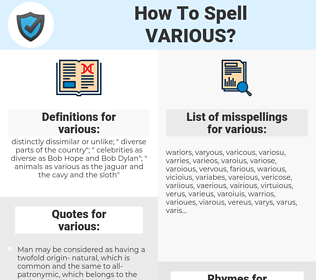 various, spellcheck various, how to spell various, how do you spell various, correct spelling for various