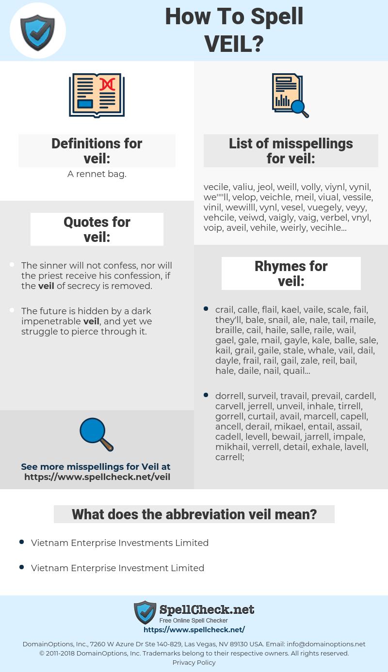 veil, spellcheck veil, how to spell veil, how do you spell veil, correct spelling for veil
