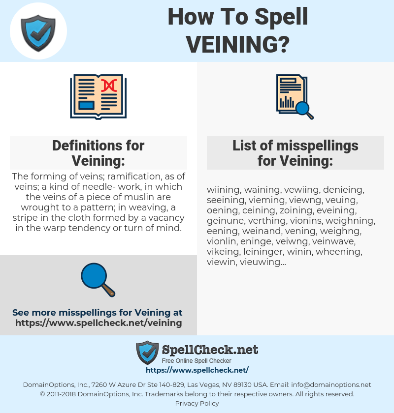 Veining, spellcheck Veining, how to spell Veining, how do you spell Veining, correct spelling for Veining