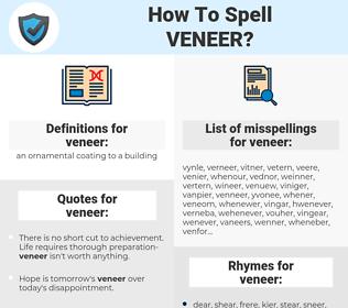 veneer, spellcheck veneer, how to spell veneer, how do you spell veneer, correct spelling for veneer