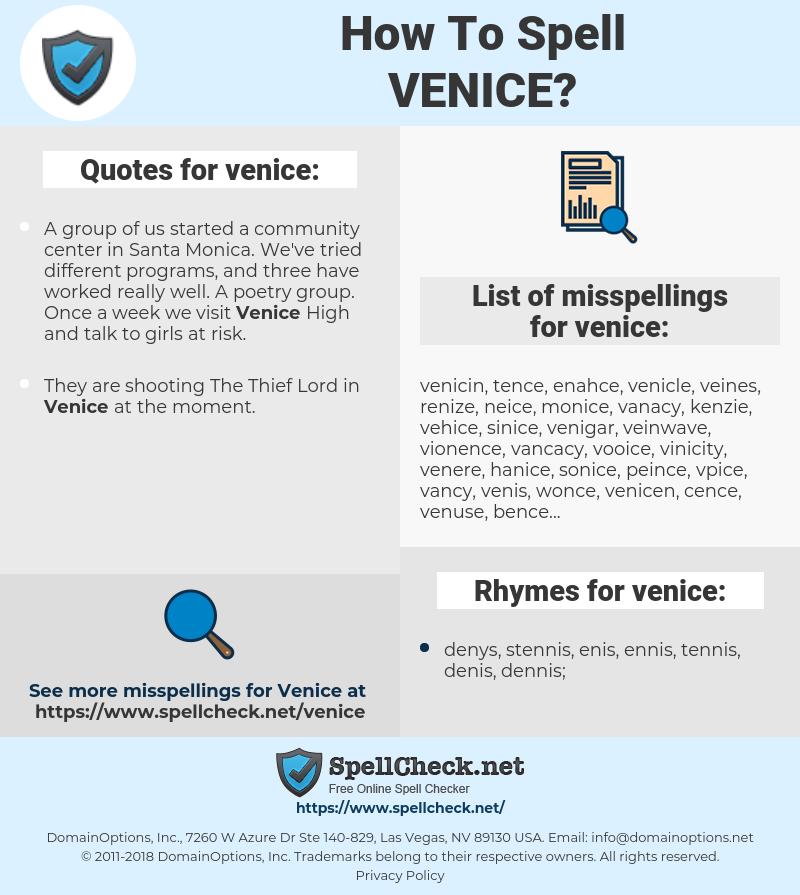 venice, spellcheck venice, how to spell venice, how do you spell venice, correct spelling for venice