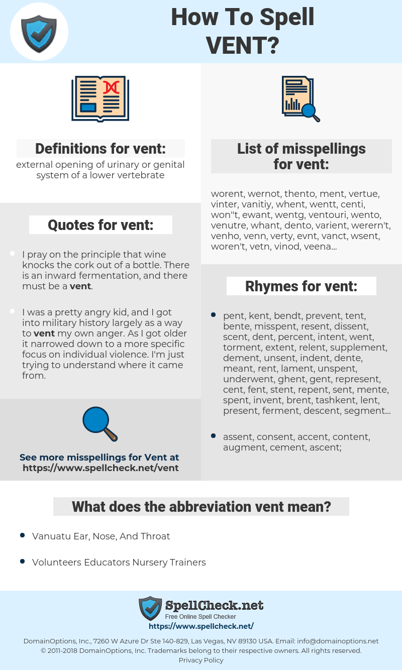 vent, spellcheck vent, how to spell vent, how do you spell vent, correct spelling for vent