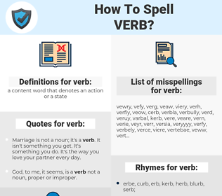 verb, spellcheck verb, how to spell verb, how do you spell verb, correct spelling for verb