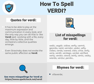 verdi, spellcheck verdi, how to spell verdi, how do you spell verdi, correct spelling for verdi