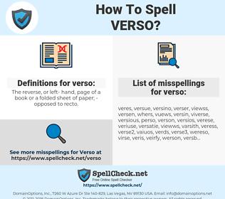 verso, spellcheck verso, how to spell verso, how do you spell verso, correct spelling for verso