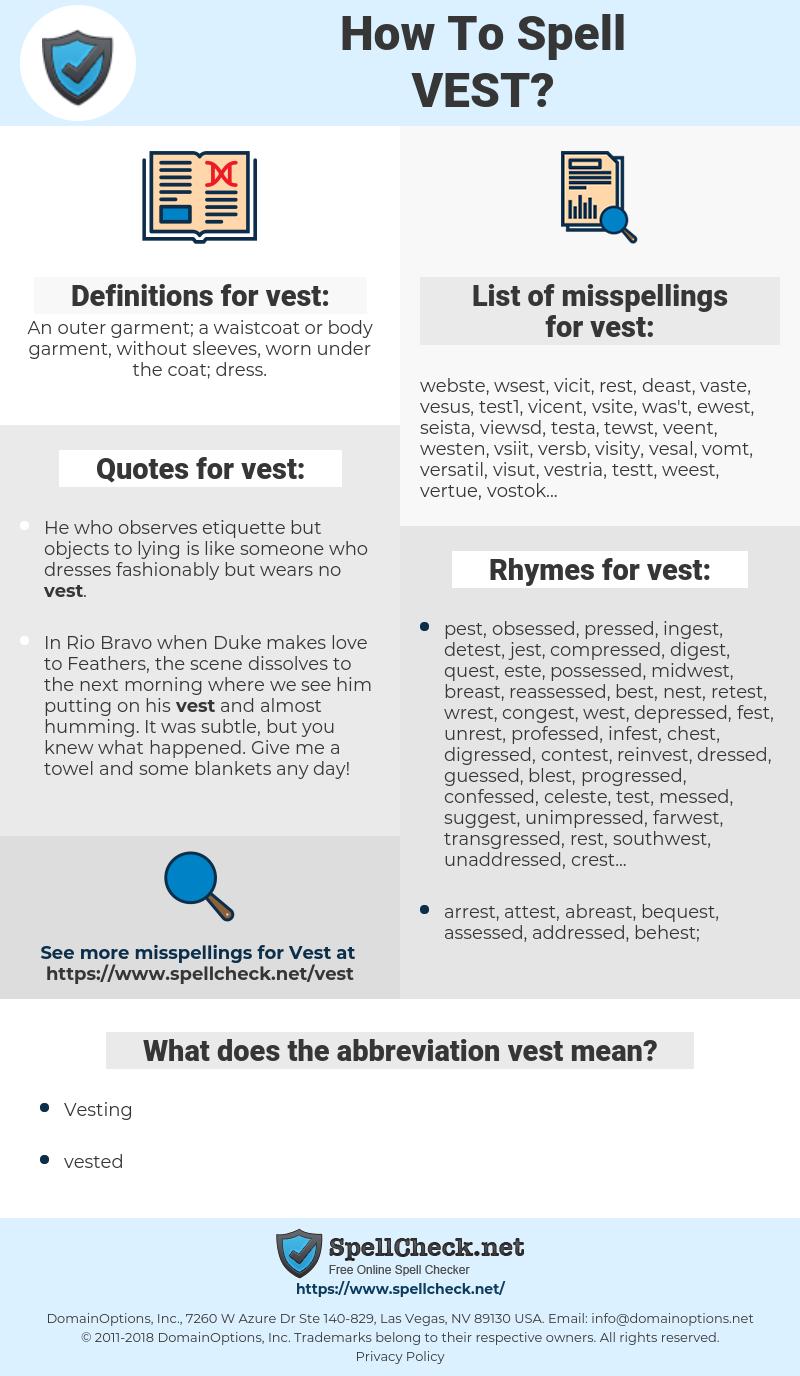 vest, spellcheck vest, how to spell vest, how do you spell vest, correct spelling for vest