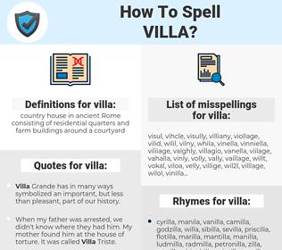 villa, spellcheck villa, how to spell villa, how do you spell villa, correct spelling for villa