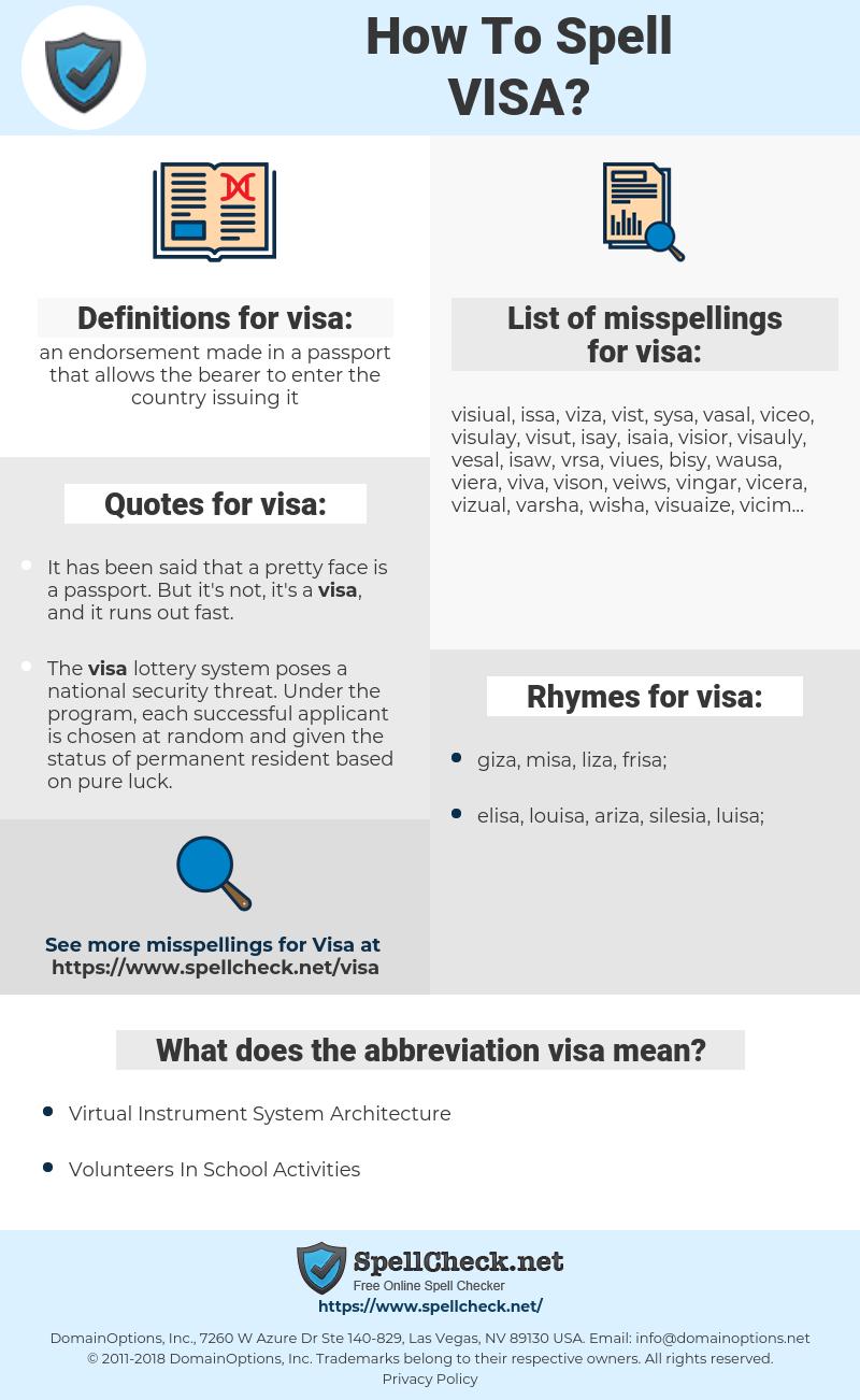 visa, spellcheck visa, how to spell visa, how do you spell visa, correct spelling for visa