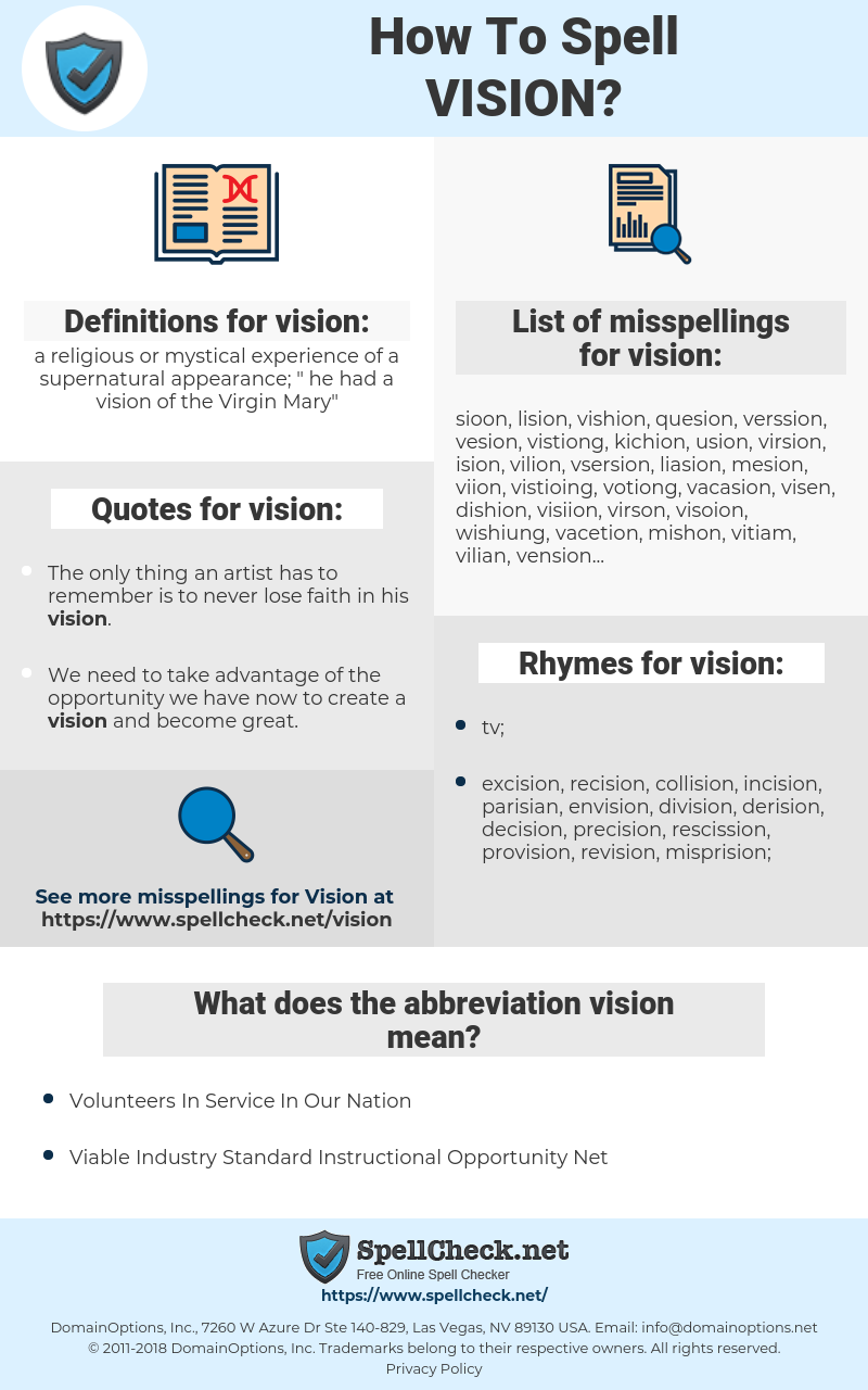 vision, spellcheck vision, how to spell vision, how do you spell vision, correct spelling for vision
