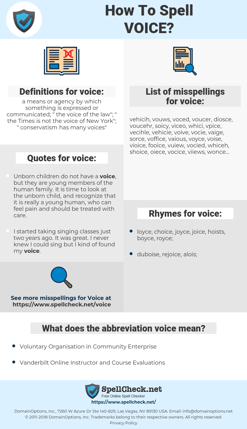 voice, spellcheck voice, how to spell voice, how do you spell voice, correct spelling for voice
