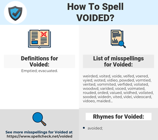 Voided, spellcheck Voided, how to spell Voided, how do you spell Voided, correct spelling for Voided