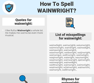 wainwright, spellcheck wainwright, how to spell wainwright, how do you spell wainwright, correct spelling for wainwright