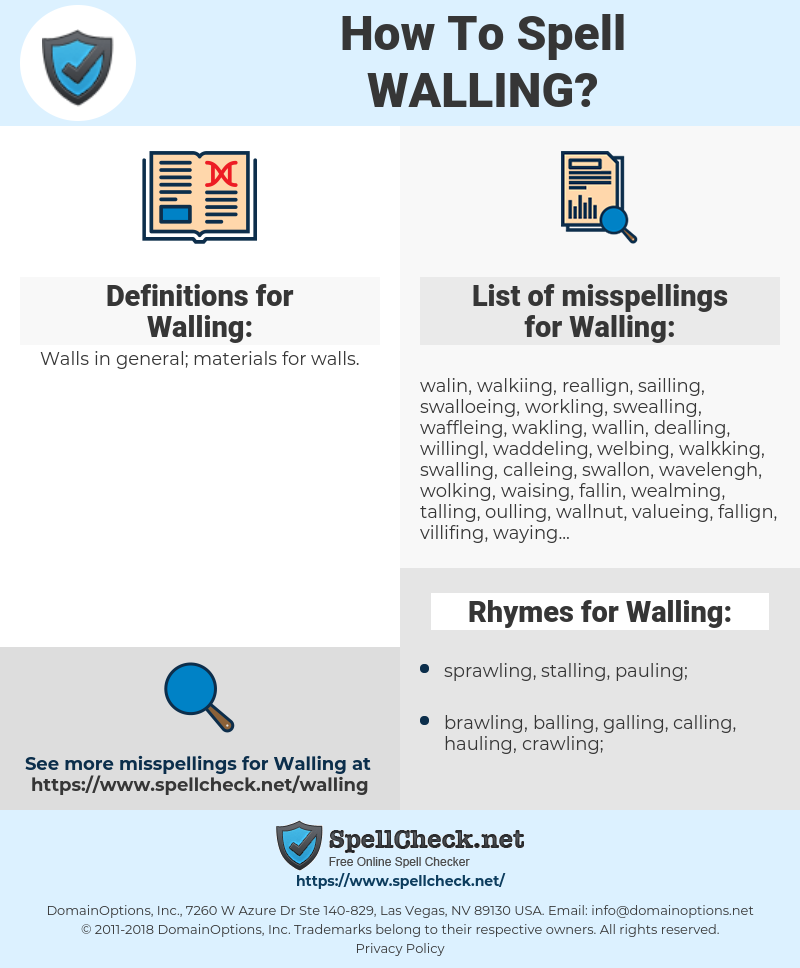 Walling, spellcheck Walling, how to spell Walling, how do you spell Walling, correct spelling for Walling