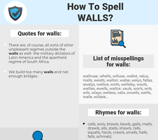 walls, spellcheck walls, how to spell walls, how do you spell walls, correct spelling for walls