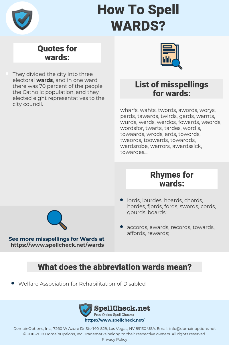 wards, spellcheck wards, how to spell wards, how do you spell wards, correct spelling for wards