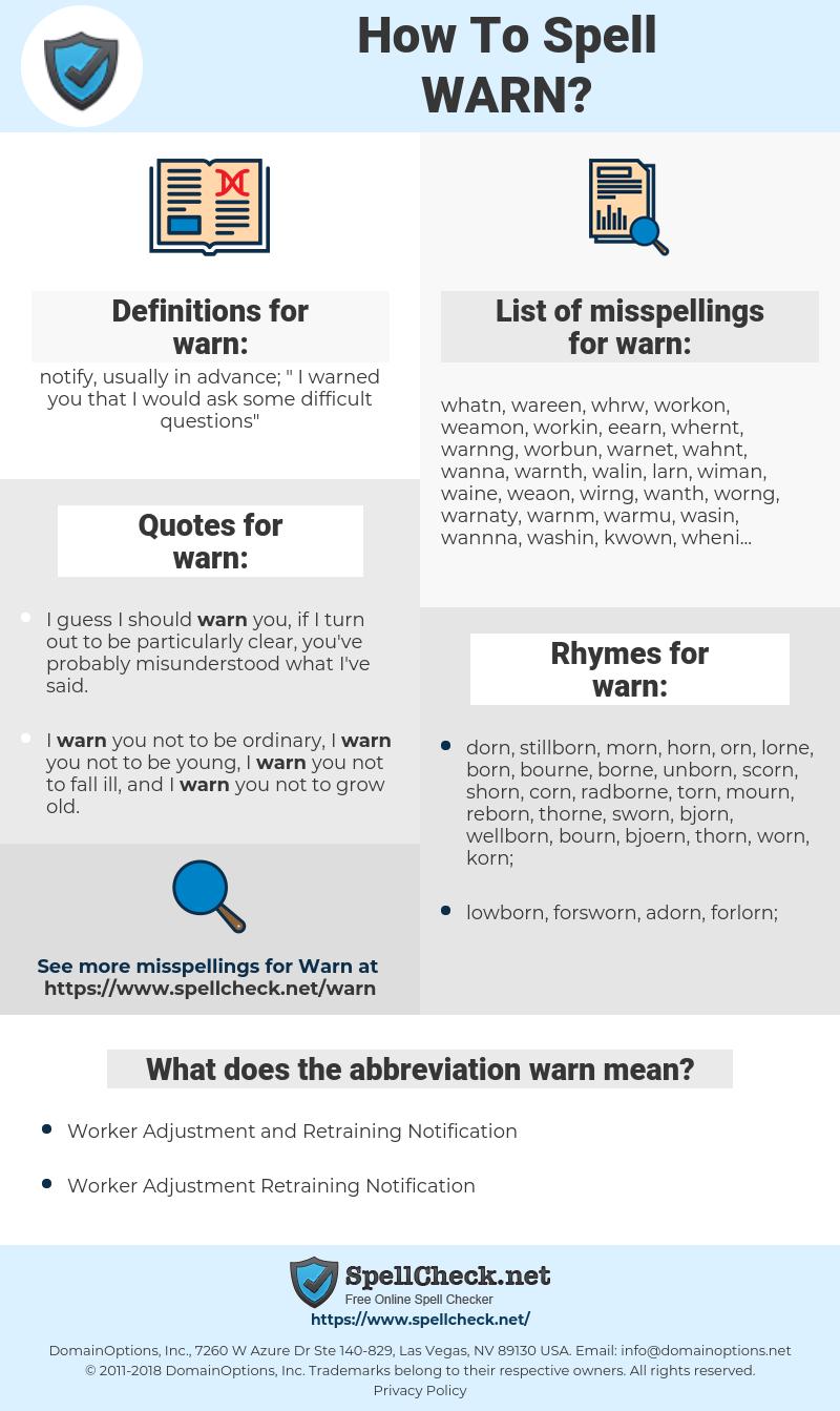 warn, spellcheck warn, how to spell warn, how do you spell warn, correct spelling for warn