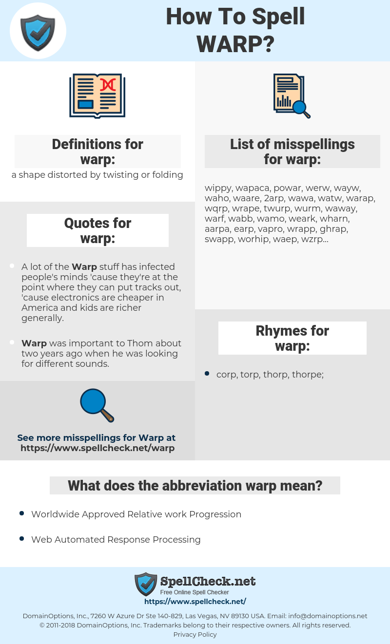 warp, spellcheck warp, how to spell warp, how do you spell warp, correct spelling for warp
