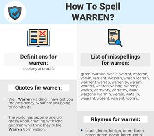 warren, spellcheck warren, how to spell warren, how do you spell warren, correct spelling for warren