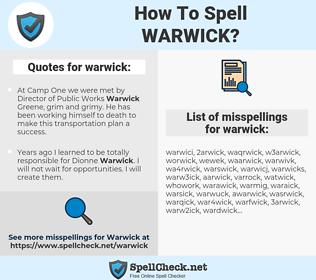 warwick, spellcheck warwick, how to spell warwick, how do you spell warwick, correct spelling for warwick