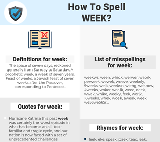 week, spellcheck week, how to spell week, how do you spell week, correct spelling for week