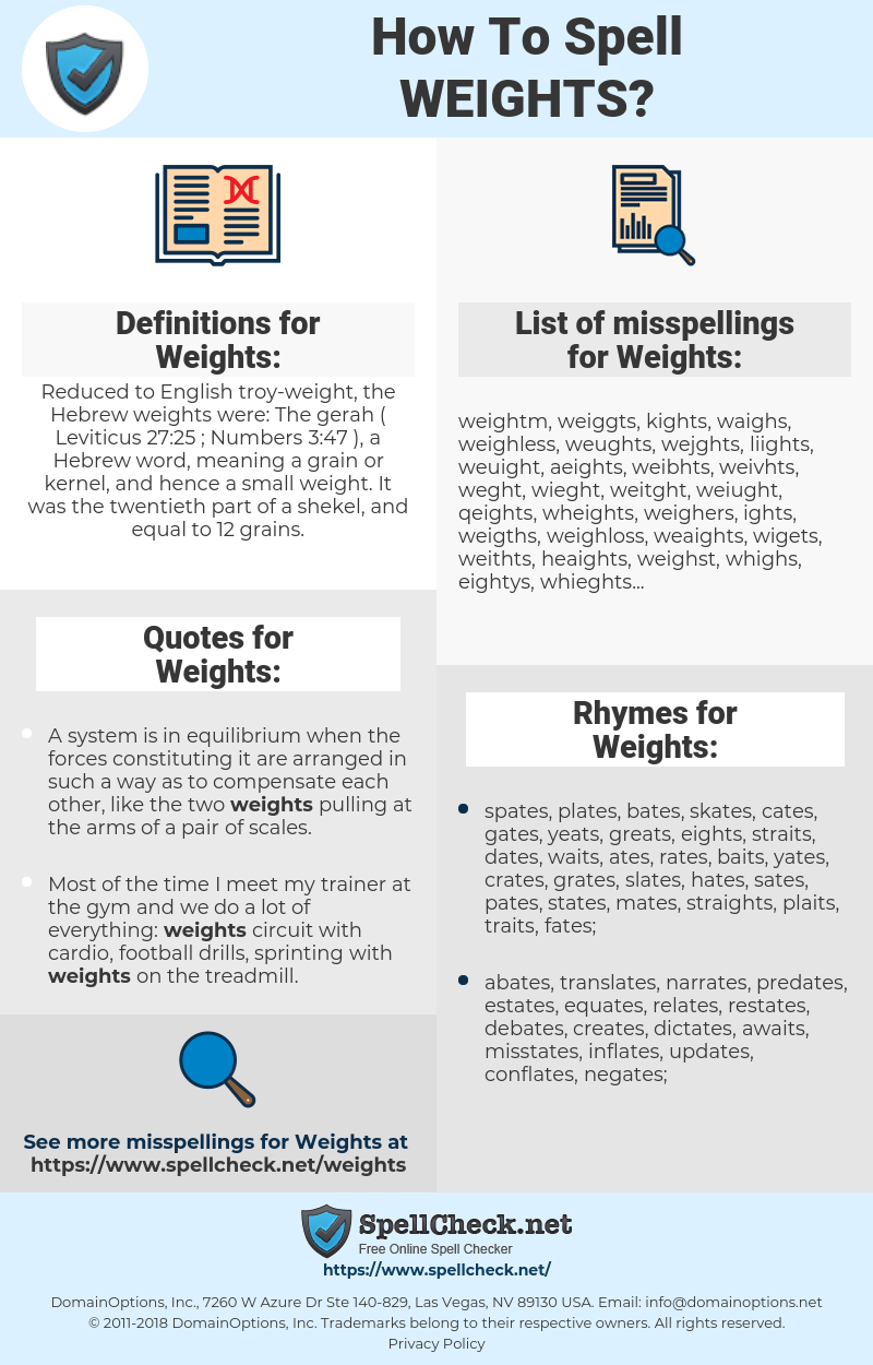 How To Spell Weights (And How To Misspell It Too