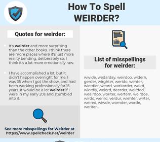 weirder, spellcheck weirder, how to spell weirder, how do you spell weirder, correct spelling for weirder
