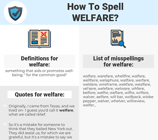 welfare, spellcheck welfare, how to spell welfare, how do you spell welfare, correct spelling for welfare