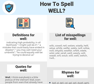 well, spellcheck well, how to spell well, how do you spell well, correct spelling for well