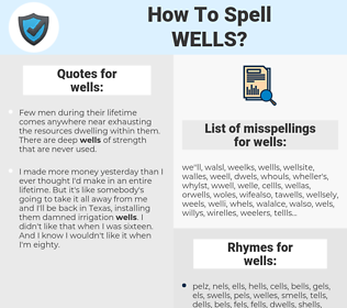 wells, spellcheck wells, how to spell wells, how do you spell wells, correct spelling for wells