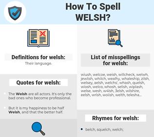 welsh, spellcheck welsh, how to spell welsh, how do you spell welsh, correct spelling for welsh