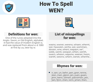 wen, spellcheck wen, how to spell wen, how do you spell wen, correct spelling for wen