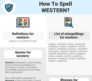 western, spellcheck western, how to spell western, how do you spell western, correct spelling for western