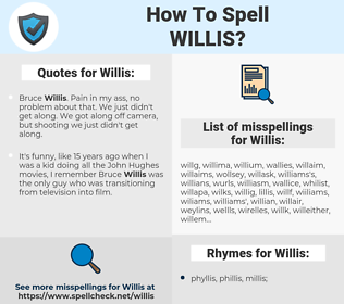 Willis, spellcheck Willis, how to spell Willis, how do you spell Willis, correct spelling for Willis