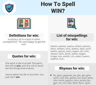 win, spellcheck win, how to spell win, how do you spell win, correct spelling for win