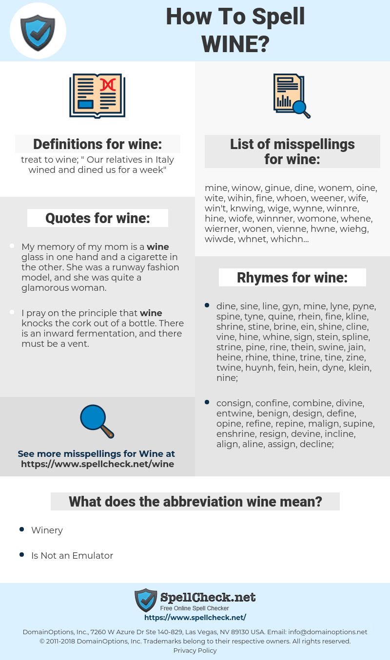 wine, spellcheck wine, how to spell wine, how do you spell wine, correct spelling for wine