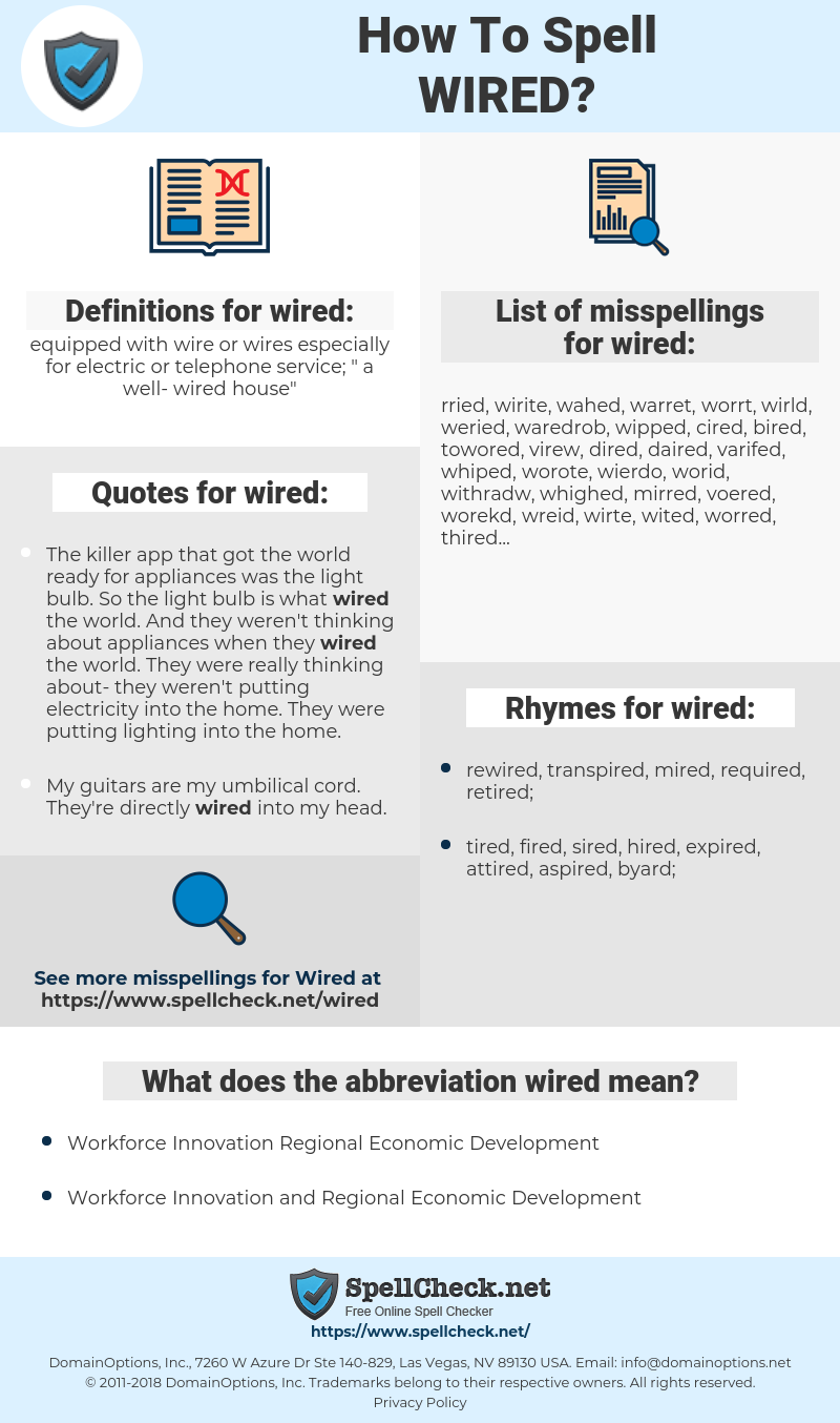wired, spellcheck wired, how to spell wired, how do you spell wired, correct spelling for wired