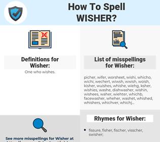 Wisher, spellcheck Wisher, how to spell Wisher, how do you spell Wisher, correct spelling for Wisher