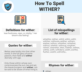 wither, spellcheck wither, how to spell wither, how do you spell wither, correct spelling for wither