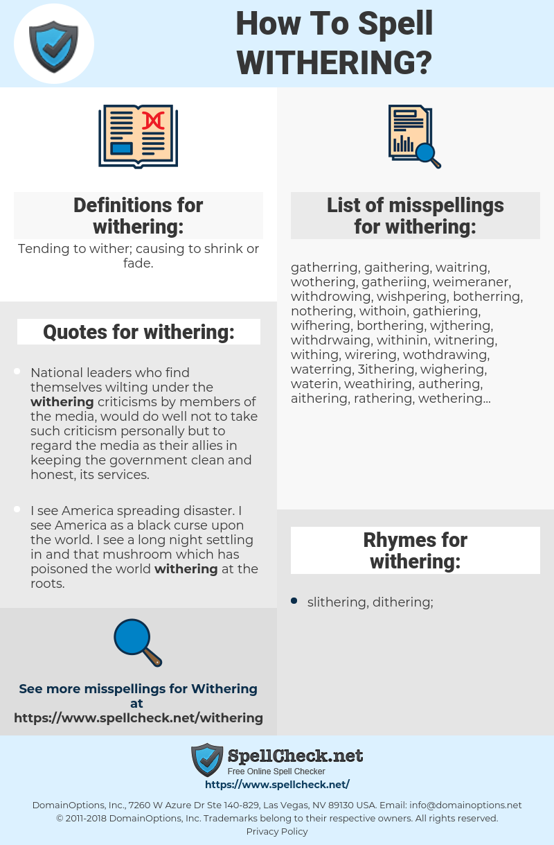 withering, spellcheck withering, how to spell withering, how do you spell withering, correct spelling for withering